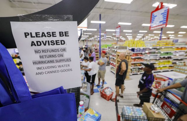 Shoppers wait in lines to purchase supplies at the Presidente Supermarket in the Little Haiti neighborhood ahead of the expected arrival of Hurricane Irma in Miami, Florida, USA, 07 September 2017. Miami Beach, the Florida Keys and other low-lying areas are under a mandatory evacuation order ahead of Irma.Hurricane Irma preparations in Miami Beach, Florida, USA - 07 Sep 2017