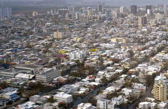 This aerial photo shows parts of San Juan, Puerto Rico, still surrounded by flood water, a week since the passing of Hurricane Maria. Maria was the strongest hurricane to hit Puerto Rico in nearly 100 years and officials say the cost of recovery will dwarf that of the punishing Hurricane Georges in 1998Hurricane Maria, San Juan, Puerto Rico - 27 Sep 2017
