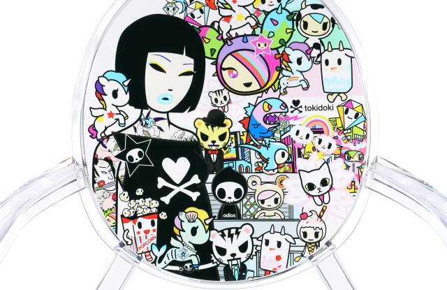 """A closeup of the Tokidoki """"Louis Ghost"""" chair for Kartell."""