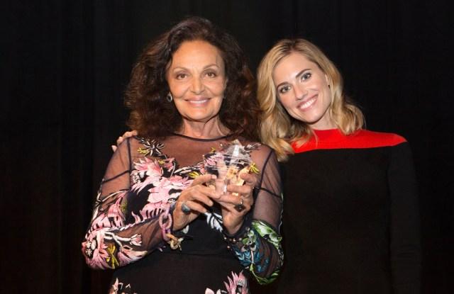 Diane von Furstenberg with Allison Williams at iMentor's Champions dinner.