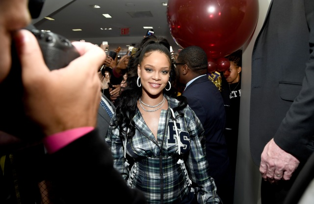 NEW YORK, NY - OCTOBER 13:  Rihanna hosts a pep rally to celebrate the launch of the AW17 FENTY PUMA by Rihanna collection at Bloomingdales on 59th Street on October 13, 2017 in New York City.  (Photo by Dimitrios Kambouris/Getty Images for FENTY PUMA by Rihanna)