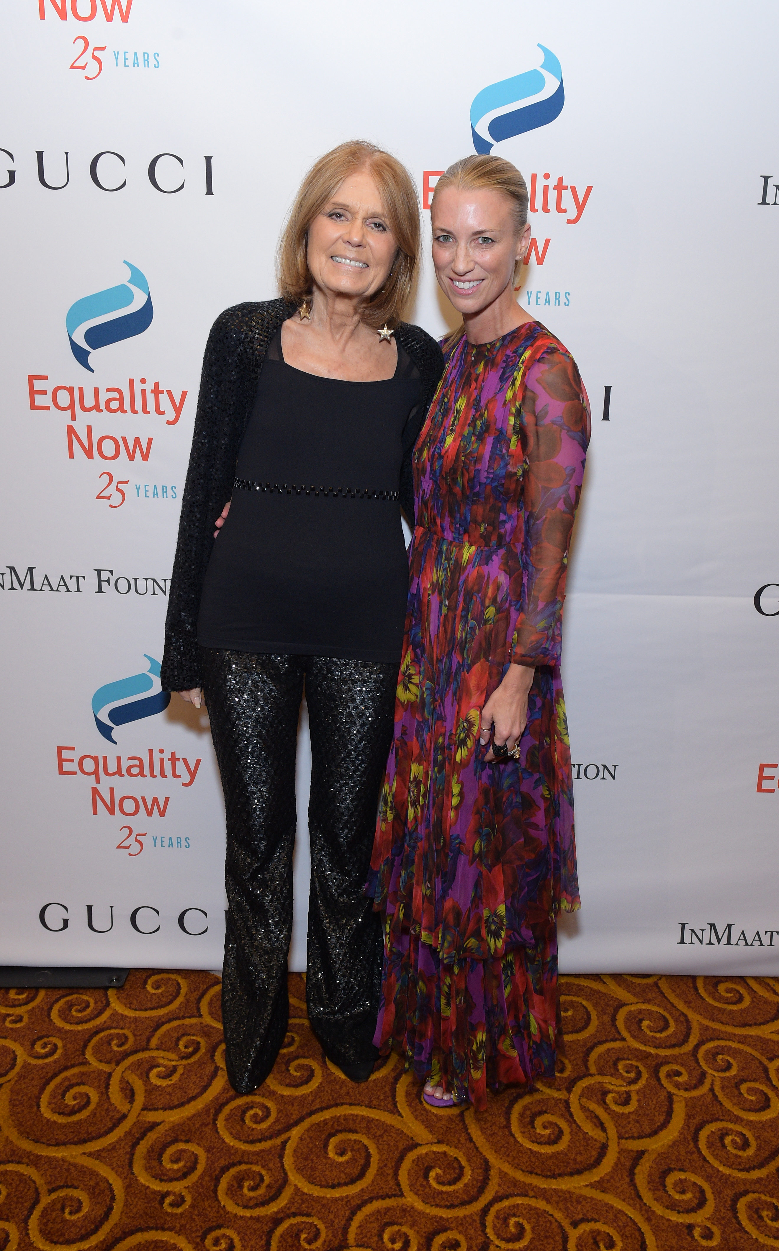 """NEW YORK, NY - OCTOBER 30:   Gala Co-Chair Gloria Steinem and  Honoree, President and CEO, Gucci America Susan Chokachi  attends as Equality Now celebrates 25th Anniversary at """"Make Equality Reality"""" Gala at Gotham Hall on October 30, 2017 in New York City.  (Photo by Jason Kempin/Getty Images for Equality Now)"""