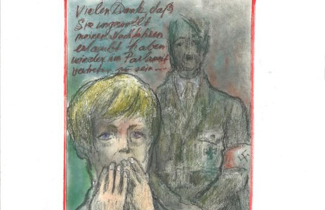 Karl Lagerfeld's sketch for Frankfurter Allgemeine Magazin.