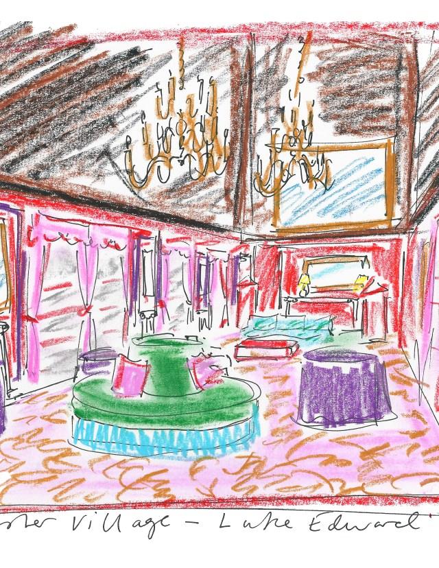 A drawing by Luke Edward Hall