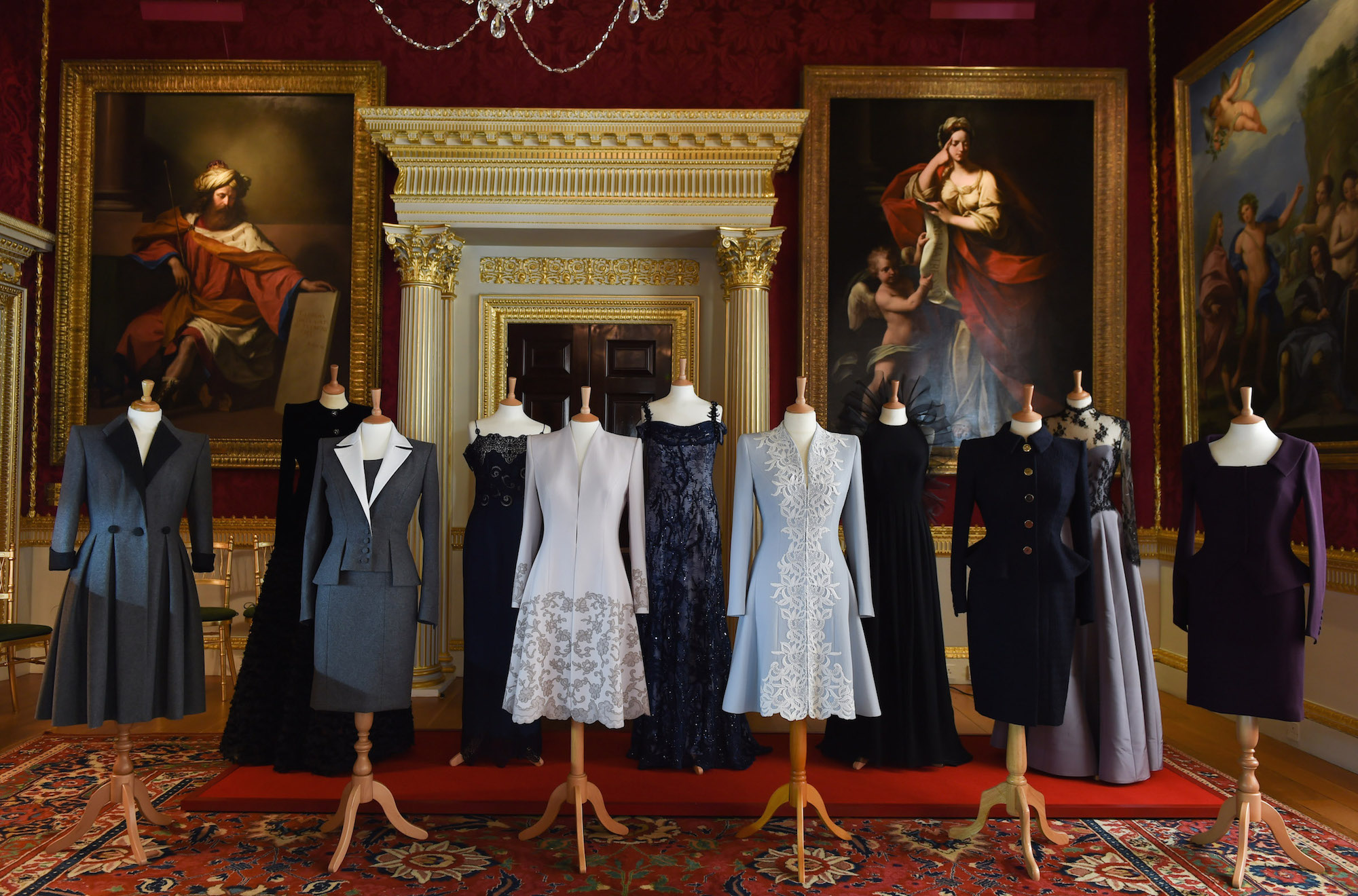 A selection of pieces from Catherine Walker and Co.'s Fall 2017 collection, from Catherine Walker and Co.'s 40th anniversary exhibition at Spencer House
