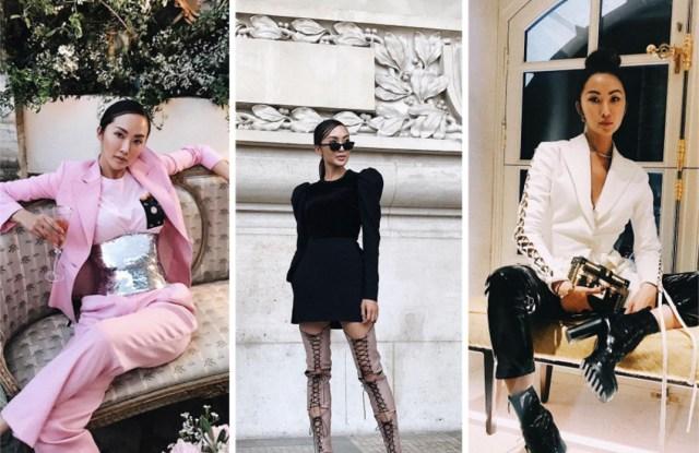 Chriselle Lim posted Instagram photos of herself wearing Oscar de La Renta, Elie Saab and Louis Vuitton during Paris Fashion Week.