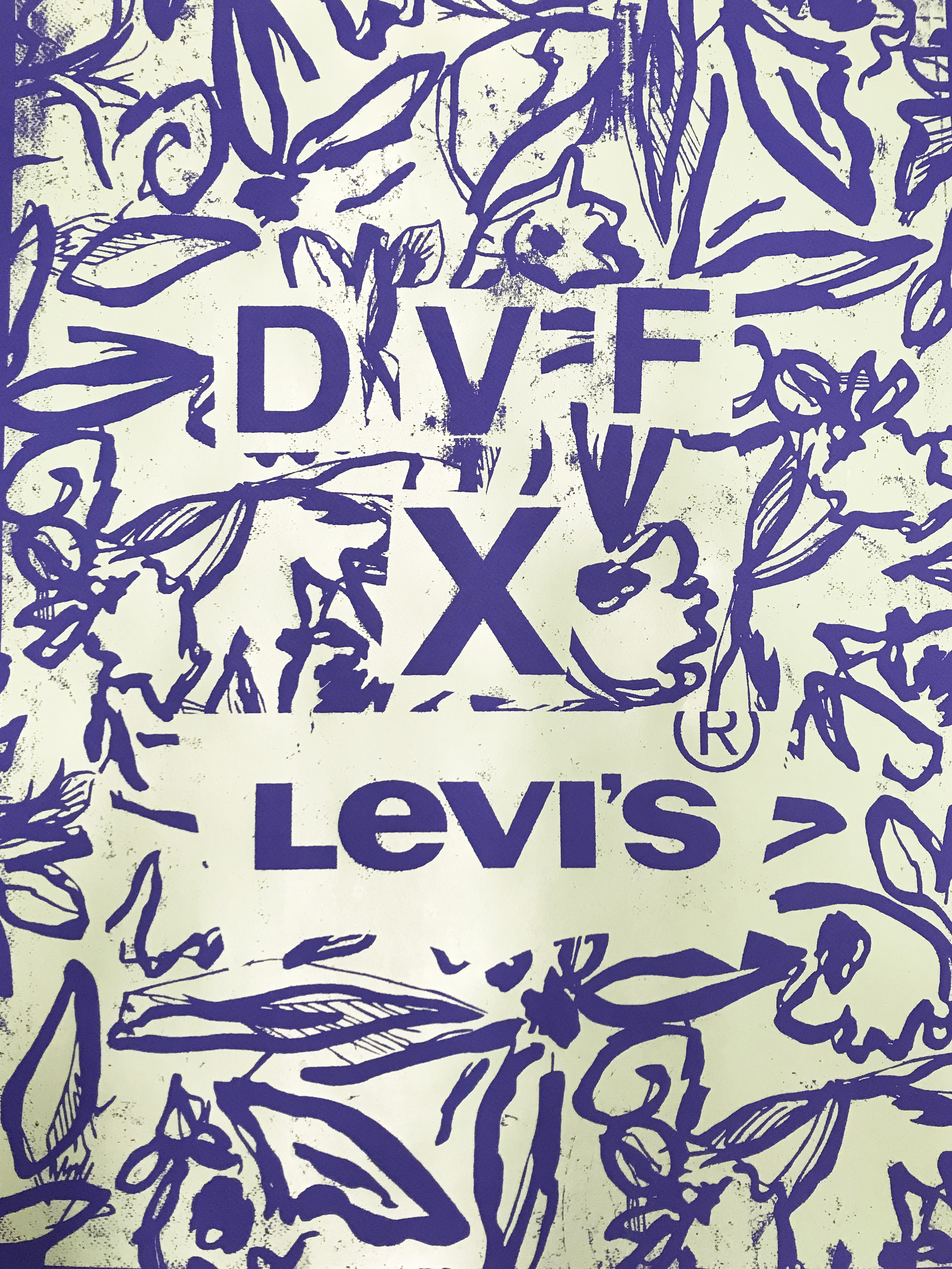 Screen painting of DVF x Levis.