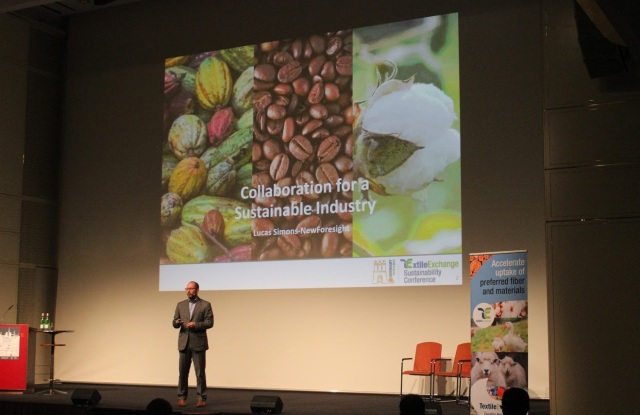 Lucas Simons, CEO of NewForesight Consultancy, speaks at the 2016 Textile Exchange Sustainability Conference about the state of collaboration in the textiles industry and challenges attendants to work more closely in order to overcome common obstacles. Photo courtesy of Textile Exchange.