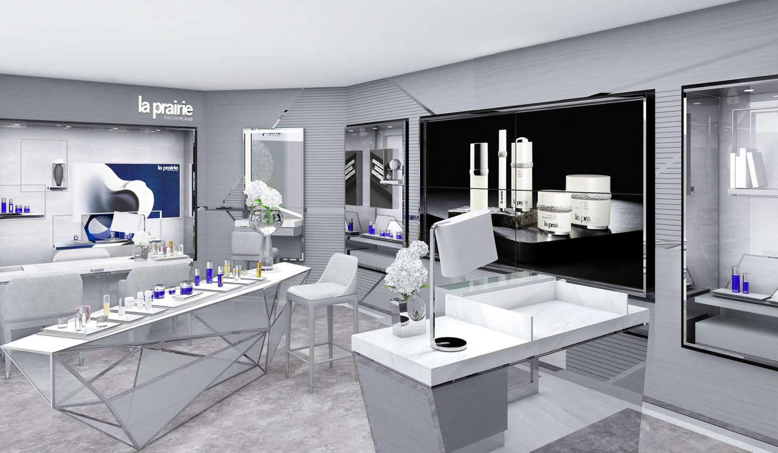 A rendering of La Prairie's new retail concept at Bloomingdale's 59th Street.