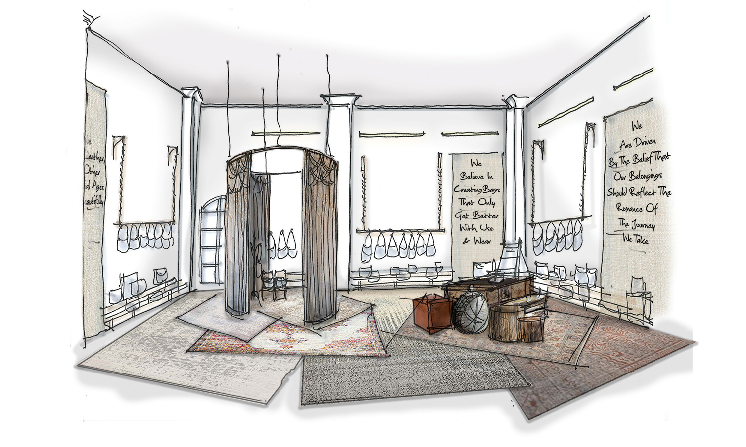 A rendering of the Leather Lounge pop-up.