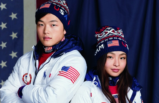 Olympians Alex and Maia Shibutani in the 2018 Team USA Closing Ceremony Uniforms.