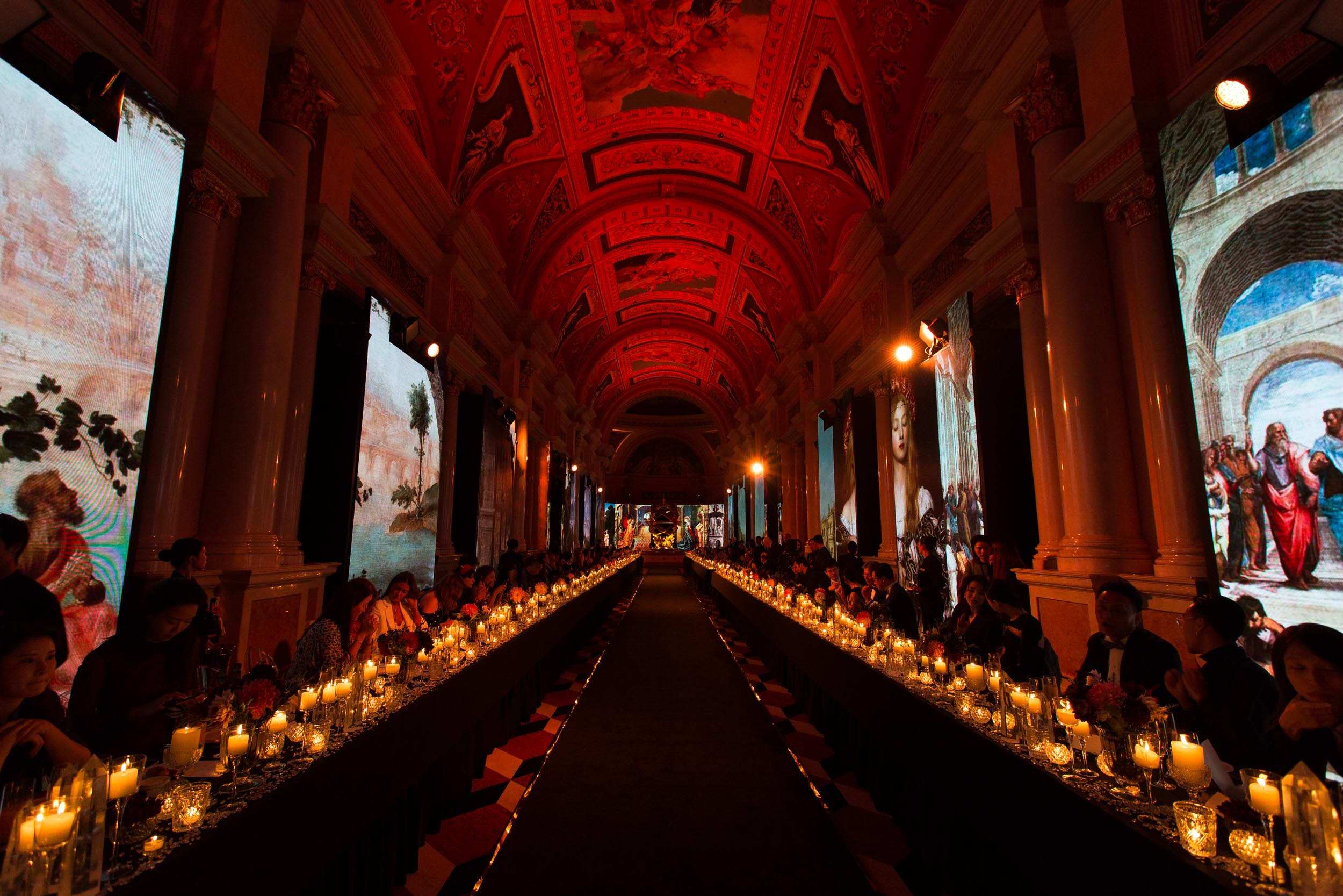 The lobby of The Venetian casino in Macau was transformed into a runway with guests dining alongside it.
