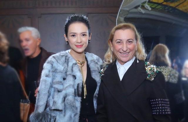 Miuccia Prada and actress Zhang Ziyi celebrate the opening of Prada Rong Zhai.
