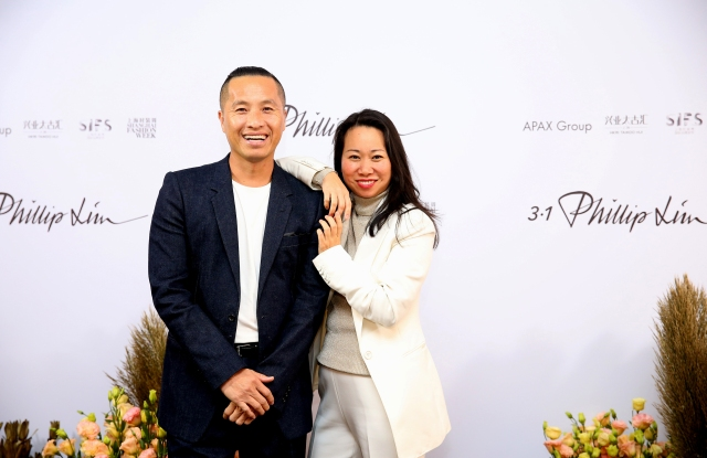 """Phillip Lim and Wen Zhou at the opening of the 3.1 Phillip Lim """"A Dialogue in Bloom"""" exhibition in Shanghai."""