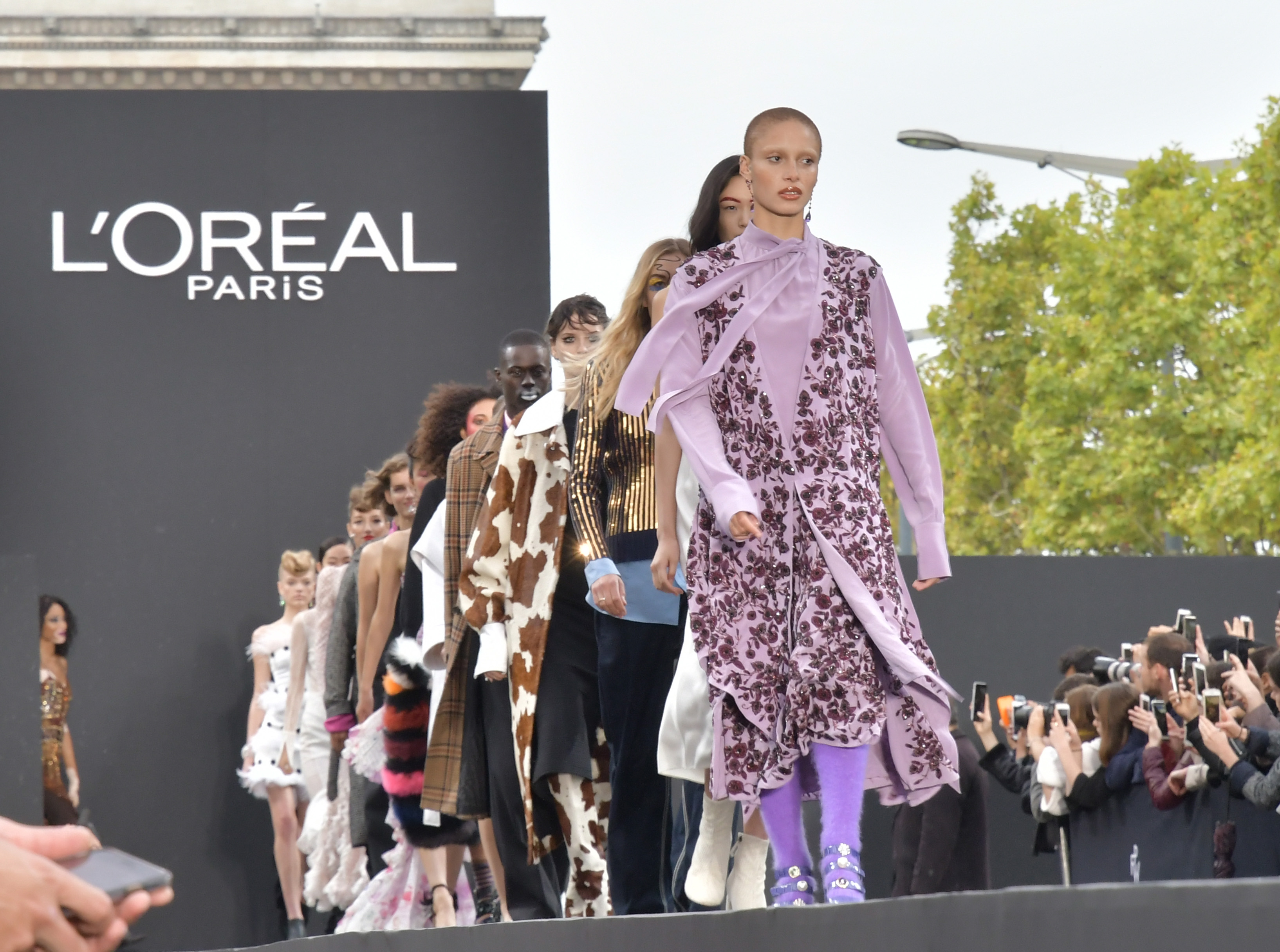 Adwoa Aboah and models on the catwalkL'Oreal show, Runway, Spring Summer 2018, Paris Fashion Week, France - 01 Oct 2017