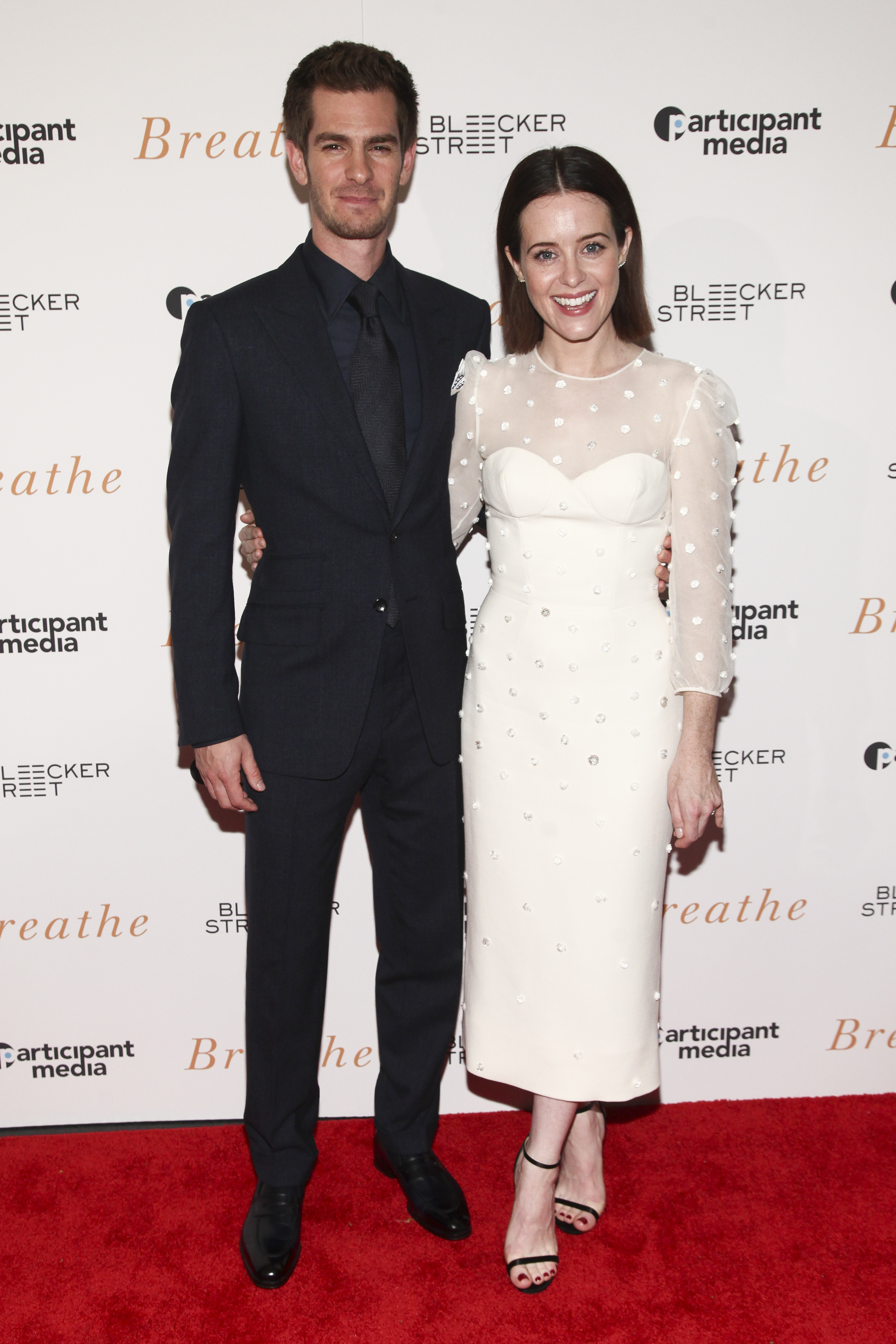 """Andrew Garfield, Claire Foy. Andrew Garfield, left, and Claire Foy, right, attend a special screening of """"Breathe"""" at AMC Loews Lincoln Square, in New YorkNY Special Screening of """"Breathe"""", New York, USA - 09 Oct 2017"""