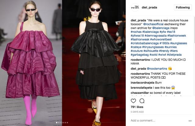 A screenshot of a recent Diet Prada Instagram.