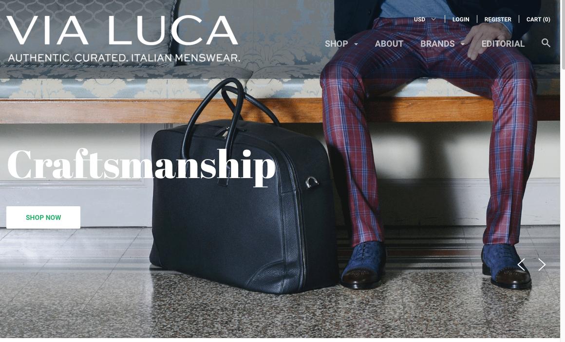A screen shot of the Via Luca site.
