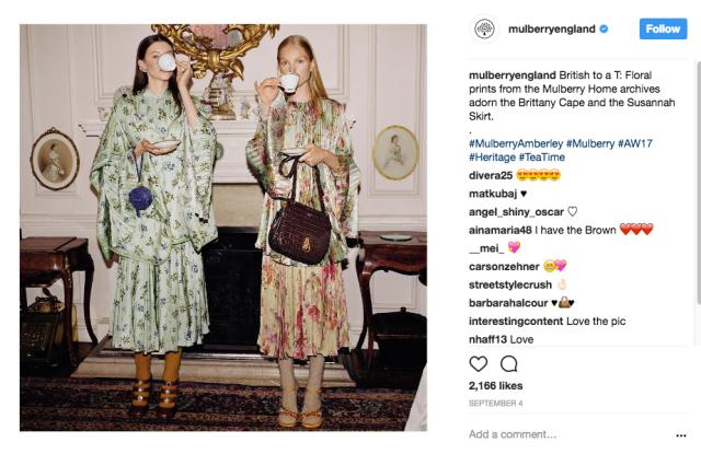 Instagram, social media, Mulberry