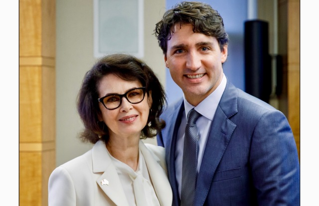 Dayle Haddon with Canadian Prime Minister Justin Trudeau