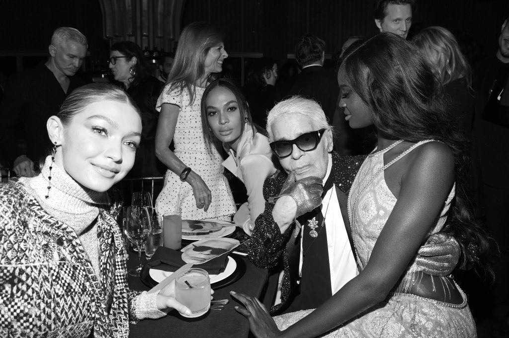Gigi Hadid, Joan Smalls, Karl Lagerfeld, Duckie ThotV Magazine dinner in honor of Karl Lagerfeld, New York, USA - 23 Oct 2017