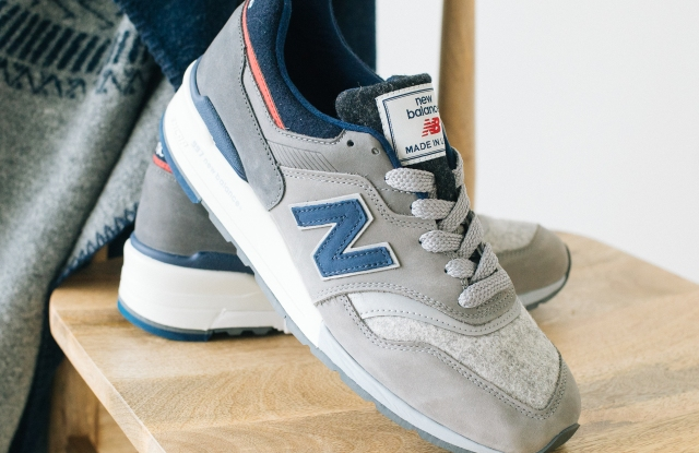 The New Balance sneaker features Woolrich wool.