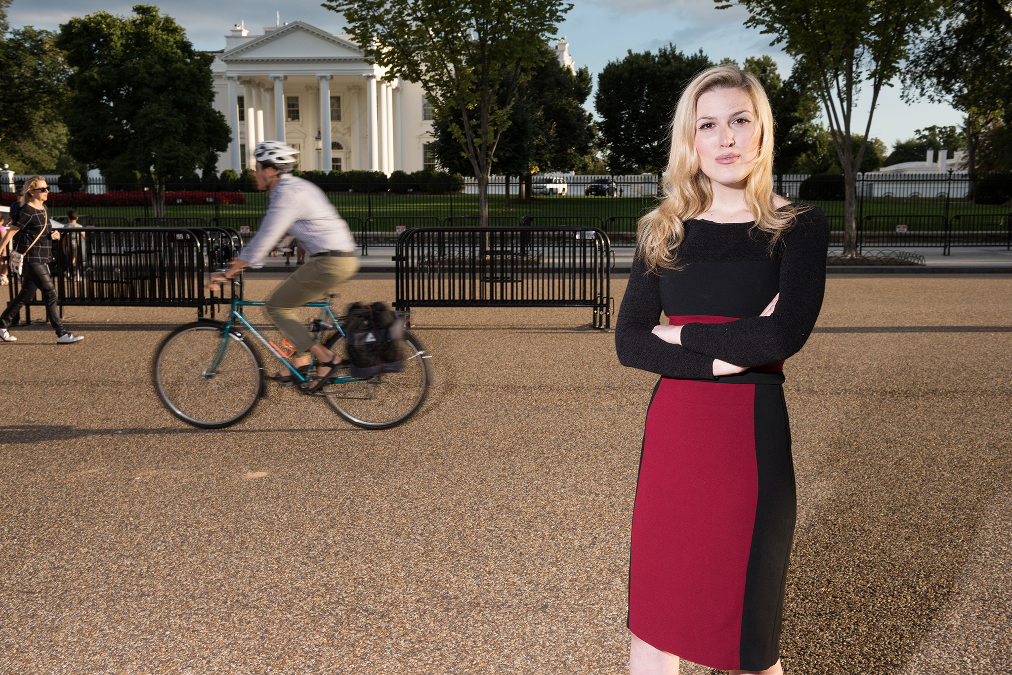 WASHINGTON, DC - SEPTEMBER 15: Olivia Nuzzi, Washington Correspondent for New York Magazine, stands for a portrait near the White House on Sept. 15, 2017 in Washington, D.C. (Photo by Joshua Yospyn/For Women's Wear Daily)