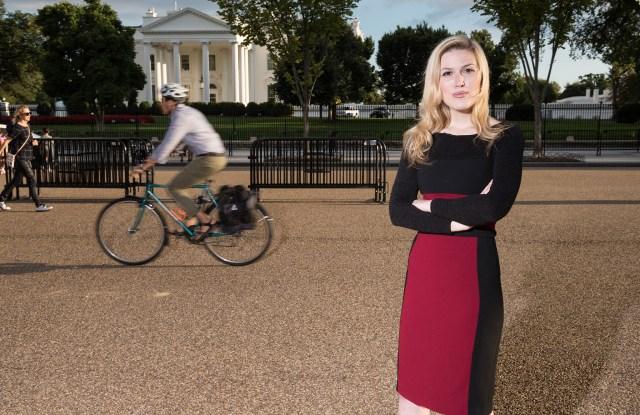 WASHINGTON, DC - SEPTEMBER 15: Olivia Nuzzi, Washington Correspondent for New York Magazine, stands for a portrait near the White House on Sept. 15, 2017 in Washington, D.C. (Photo by Joshua Yospyn/For Women's Wear Daily)