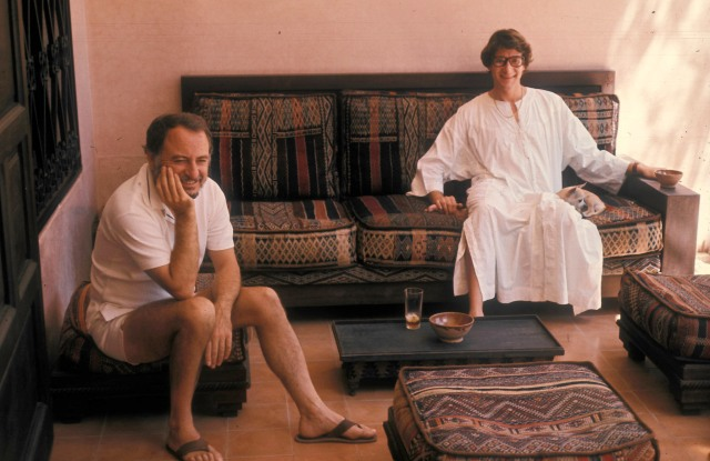 Pierre Bergé and Yves Saint Laurent at their house in Dar Es Saada, Marrakech, Morocco, in 1977.
