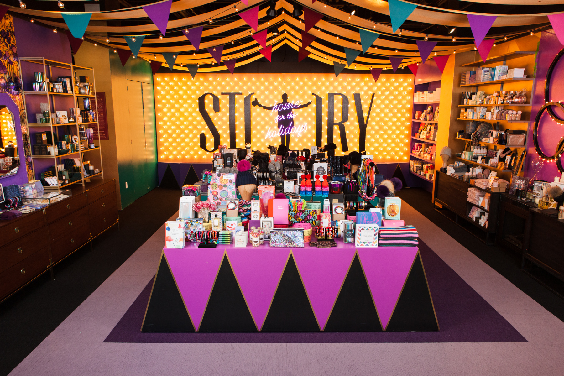 """Under the Story big top, themed, """"Home For the Holidays."""""""