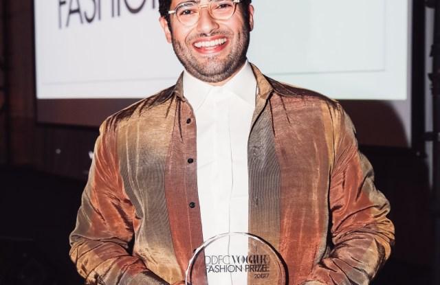 Faissal El-Malak, winner of the DDFC Vogue Arabia Fashion Prize for Ready to Wear