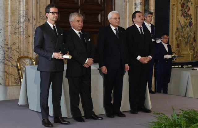 Federico Marchetti receiving the 'Cavaliere del Lavoro' honor from Italy's president Sergio Mattarella.