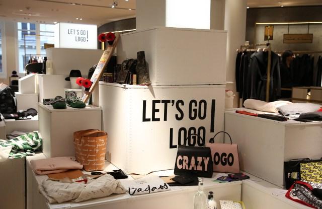 Items from Le Bon Marché's Let's Go Logo exhibition.