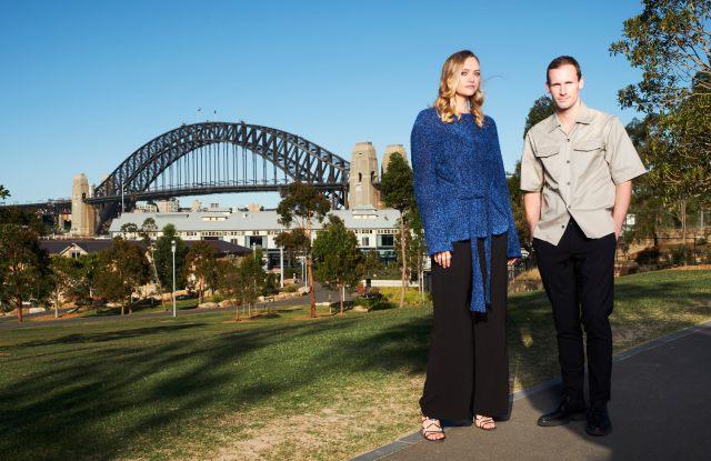 Designer Dion Lee, winner of the 2017 Australian Fashion Laureate, with model Gemma Ward, one of the presenters at the Australian Fashion Laureate Awards, Sydney, November 9, 2017. Photo: Myles Kalus