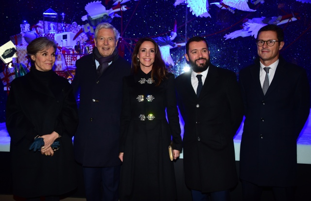 Princess Marie of Denmark with Kirsten Malling Biering, Danish ambassador to France, Groupe Galeries Lafayette's executive chairman Philippe Houzé, BHV Marais' Alexandre Liot, and Olivier Bron, Galeries Lafayette, BHV Marais and international director.