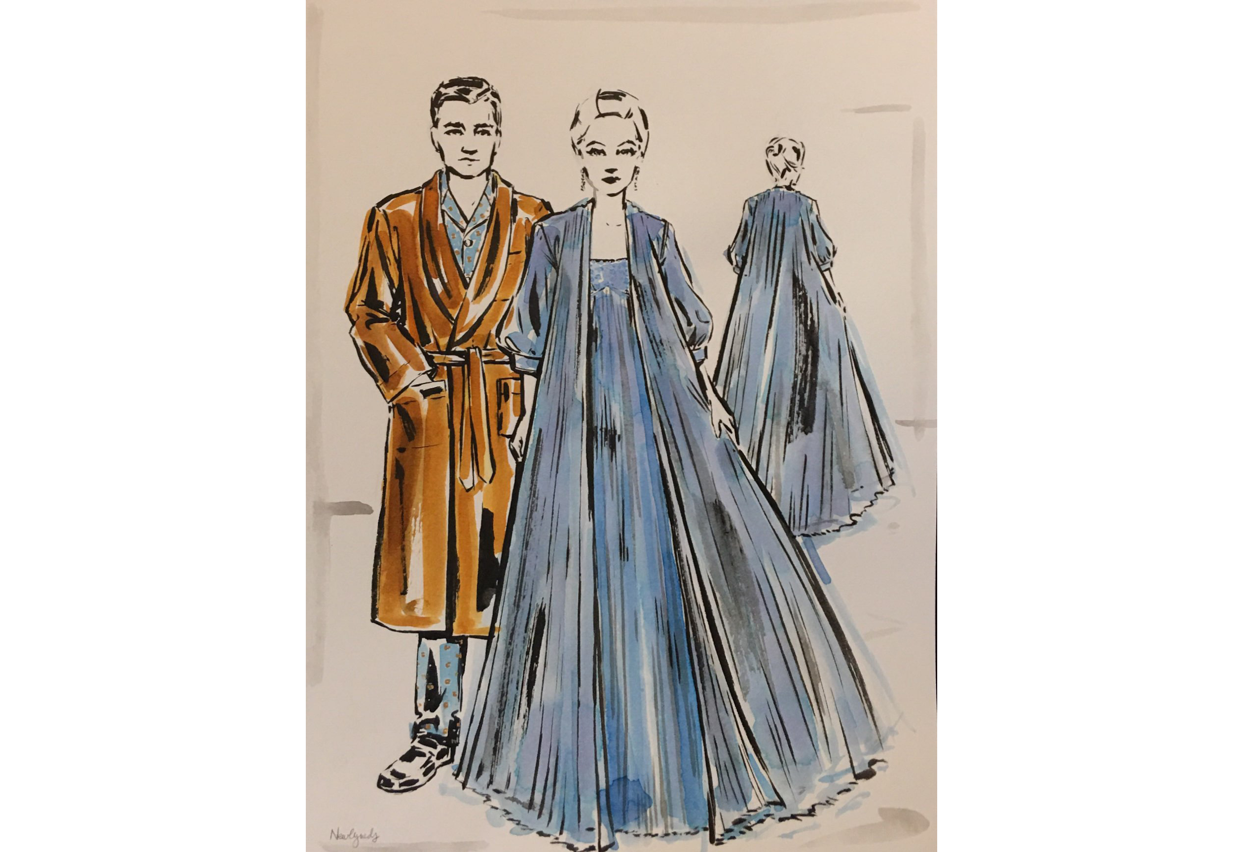 "A sketch of the costumes for ""Marnie"" by Arianne Phillips"
