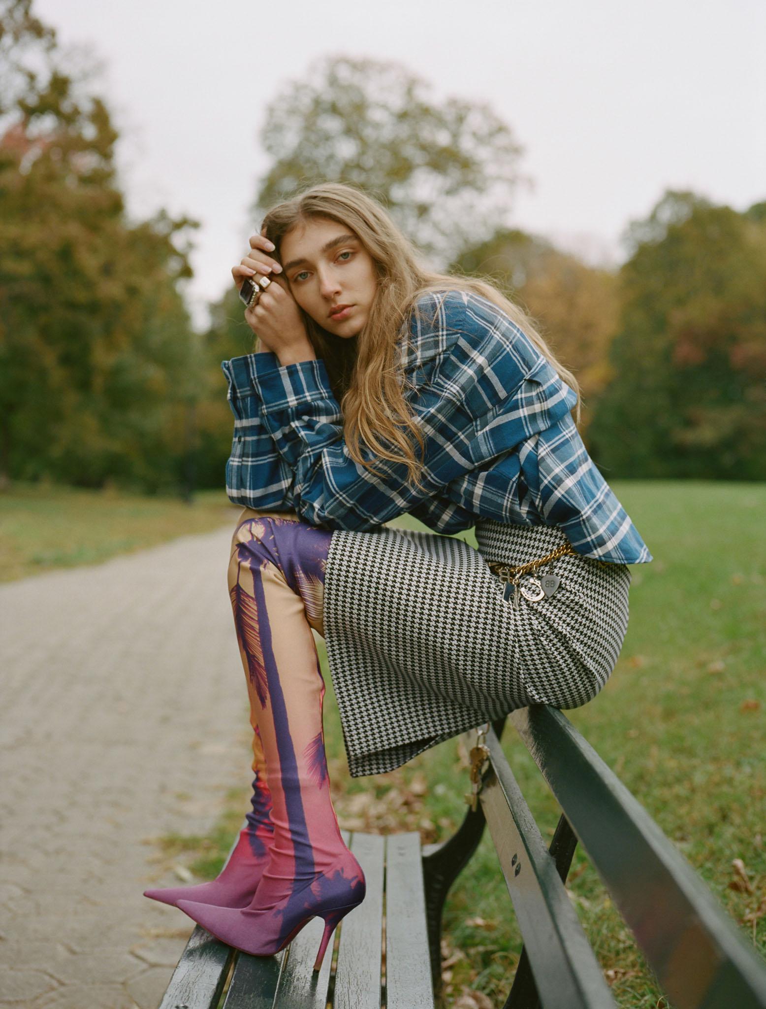 Balenciaga's cotton combination shirt, wool skirt, boots and ring.