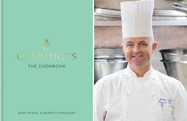 """Cover of """"Claridge's: The Cookbook"""" with chef Martyn Nail."""