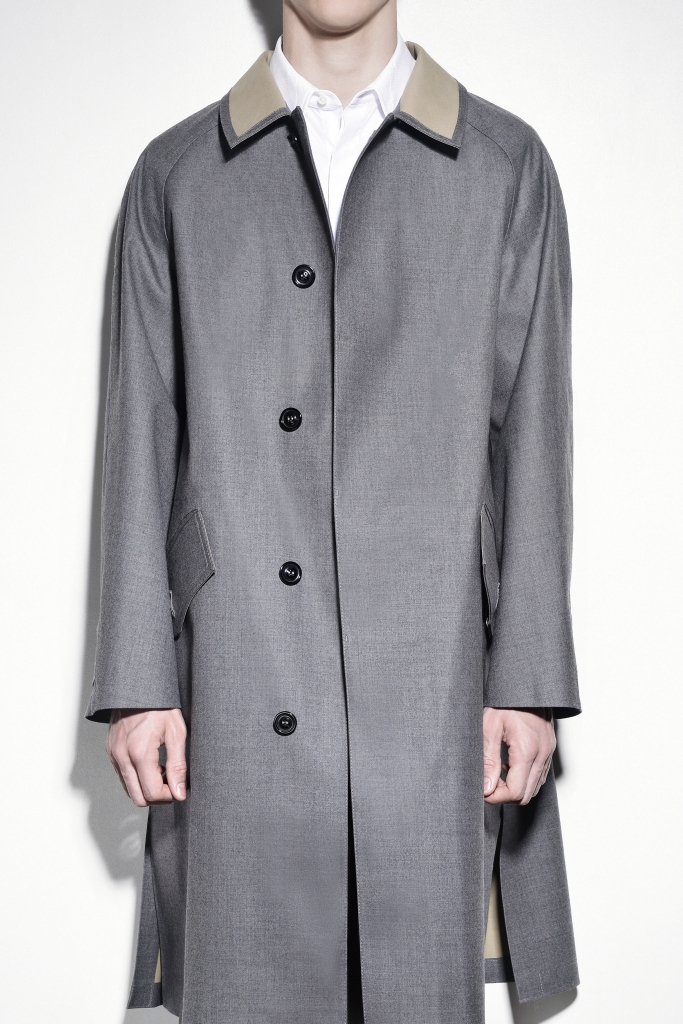 A gray trench coat from Maison Margiela's collaboration with Mackintosh.