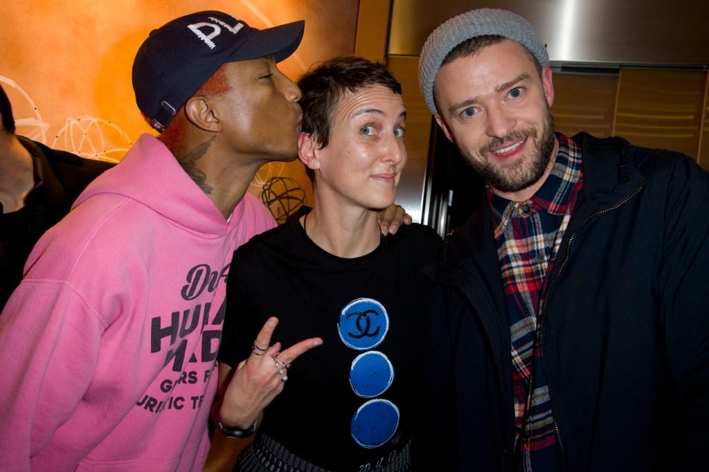 Pharrell Williams, Sarah Andelman and Justin Timberlake.