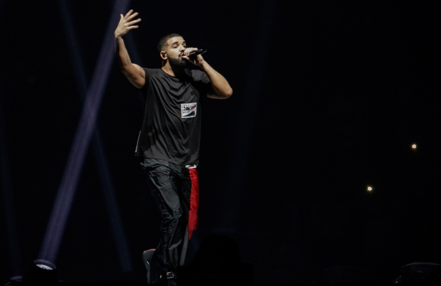 """Drake wearing Prada during his """"Boy Meets World Tour"""" concert in Auckland."""