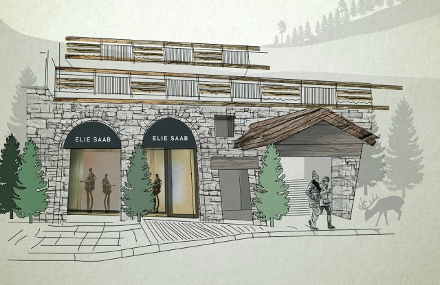 A rendering of the Elie Saab temporary store in Courchevel.