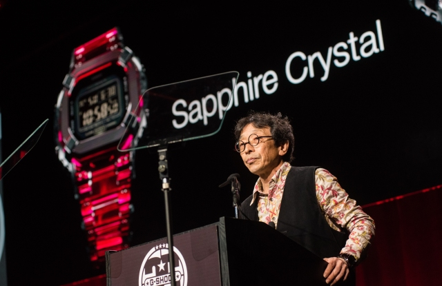 G-Shock founder Kikuo Ibe announces the firm's new sapphire crystal watch.