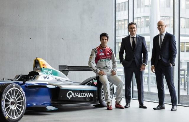 The E Team. left to right: Formula E world champion Lucas di Grassi,  Formula E CEO Alejandro Agag and Boss CEO Mark Langer