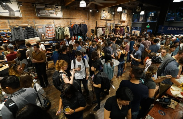 A large crowd turned out to toast Patagonia's new Seattle flagship in August.