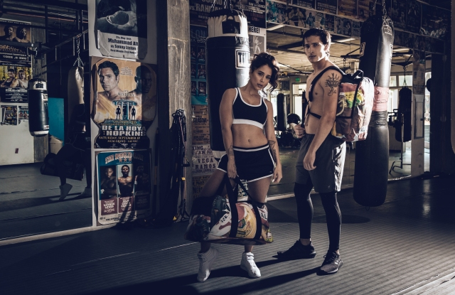 Biaggio Ali Walsh with a female model in the new Sprayground ad campaign.