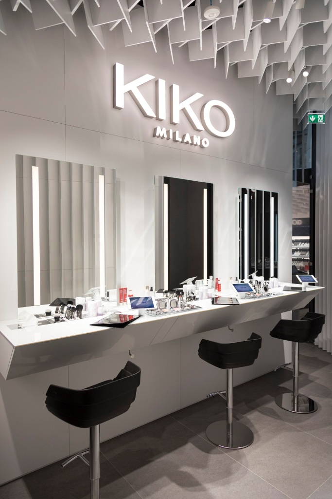 Reserved makeup stations inside KIKOiD store in Milan.