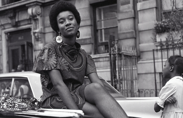 Grandassa model Pat Bardonelle during the Garvey Day Parade, August 17, 1968. Photograph by Kwame Brathwaite © 1962, Courtesy of the photographer and the Museum of the City of New York.