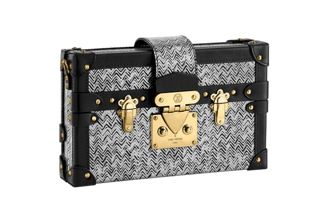 Petite Malle in silver Epi leather with chevron pattern.