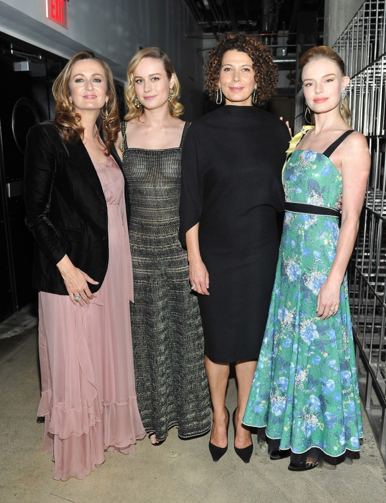 HOLLYWOOD, CA - NOVEMBER 01: (L-R) Editor-in-Chief of PORTER, Lucy Yeomans, Brie Larson, Chairman of Universal Pictures, Donna Langley and Kate Bosworth at PORTER Hosts Incredible Women Gala In Association With Estee Lauder at NeueHouse Los Angeles on November 1, 2017 in Hollywood, California. (Photo by Donato Sardella/Getty Images for PORTER Magazine)